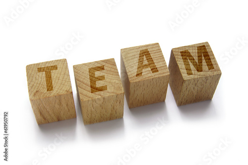 wood blocks with team word on white background