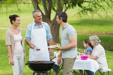 Extended family with barbecue in park