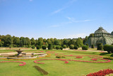 Palm Pavilion and floral lawn in the park of Schonbrunn, Vienna,