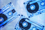 grunge cassette tapes blue