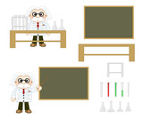professor cartoon and equipment