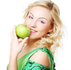 Young happy smiling woman with apple