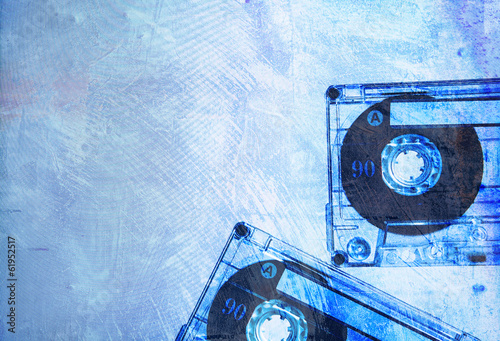 grungy old blue cassettes