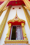 Thai Buddhist temple. Thai art of the window