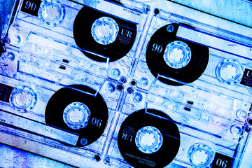 cassette tapes grungy blue