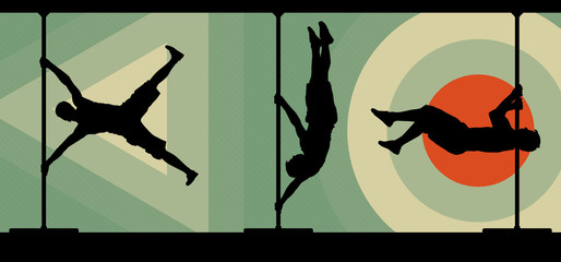 Silhouettes of male pole dancers performing pole moves