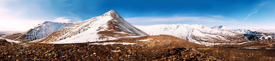 Mountain peaks panorama  1x4.5 Ratio, captured in Iceland