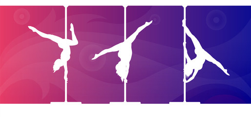 White silhouettes of female pole dancers on vivid background