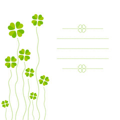 Vector illustration of cloverleafs, card with copy-space