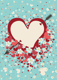 Heart pierced by arrow with spring flowers.Vintage background