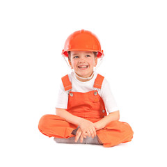 Small builder on white background