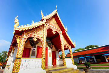 Golden pagoda at Buddhist temple in Thailand.