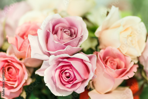 pink artificial roses close up
