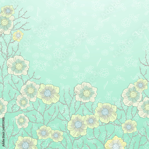 Blue card with flowers