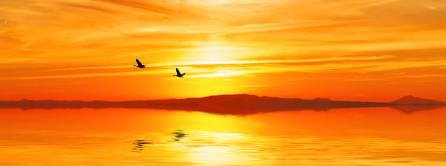 amanecer panoramico del mar
