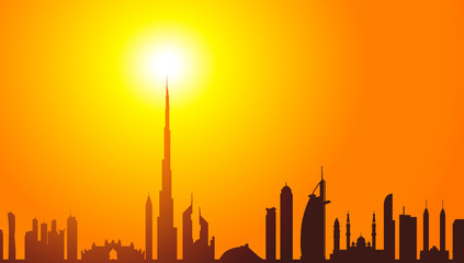 Dubai Skyline & Sunrise-Vector