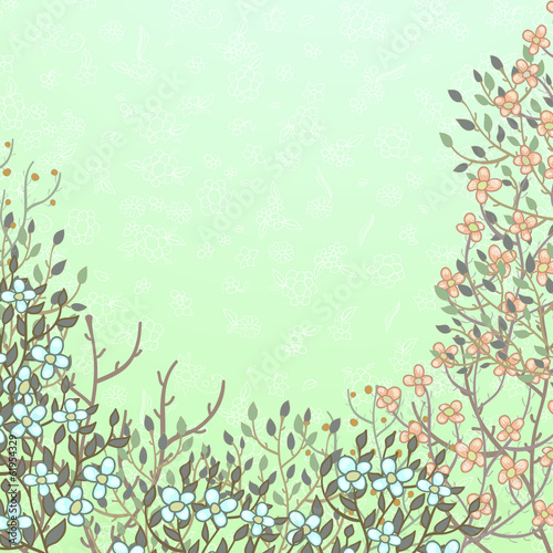 Spring card with blooming bushes