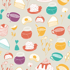 Sweet teatime pattern. Seamless  background