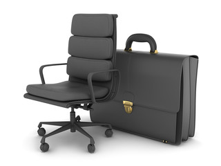 Leather business briefcase and office chair