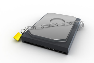 hard disk secured with a strong iron chain and padlock
