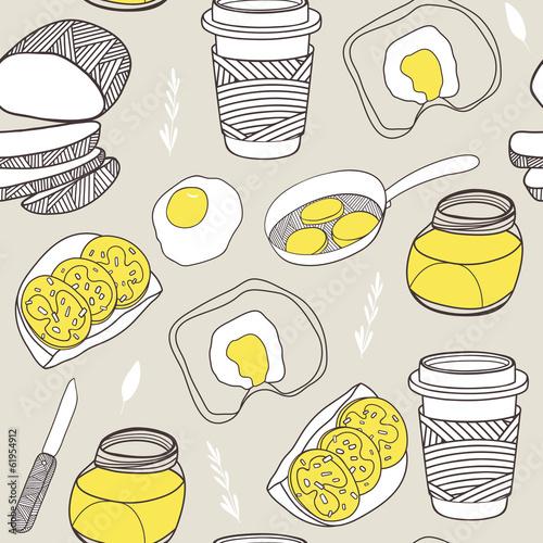 Kitchen seamless pattern. Cartoon background