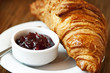 French Breakfast with Corissant and Berry Jam