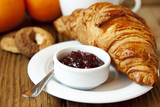 French Breakfast with Croissant and Berry Jam