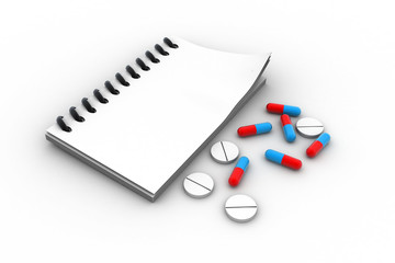 Pharmacist prescription with pills