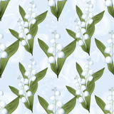 Lilies of the valley seamless pattern background