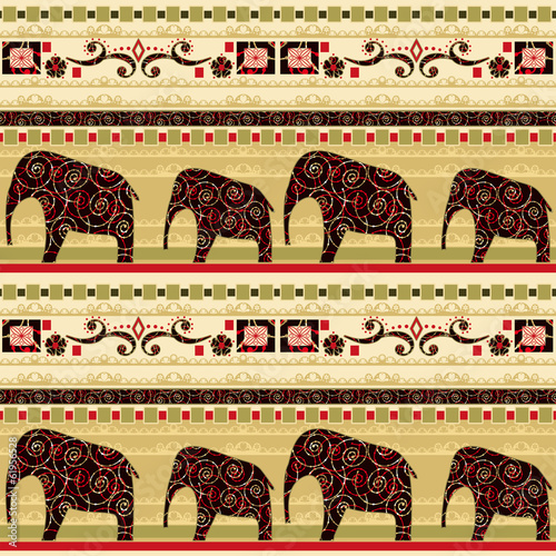 African seamless pattern with elephant