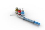 Medicine Vials with liquid, hualuronic, collagen or flu Syringe poster