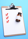 Clip Board with Prescription Bottle and Check Boxes