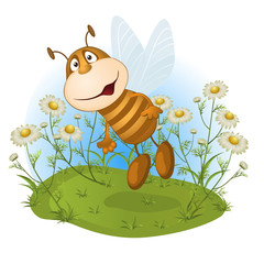 amusing bee on a flower glade