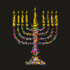 Grunge jewish colorful Chanukiah on black background,Vector