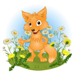 cheerful young fox on a glade