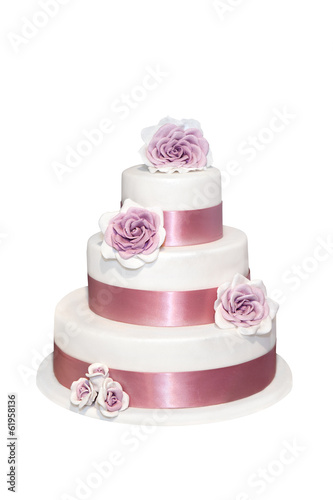 canvas print picture Wedding cake with roses isolated on white
