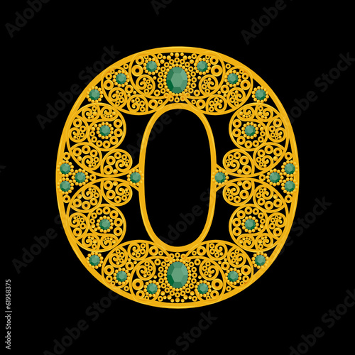"Golden letter ""O"" on a black background"