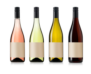 four wine bottles set
