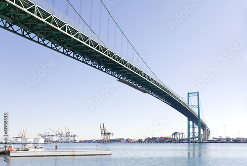 Vincent Thomas Bridge over harbor,perspective view