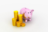 Piggy bank with of gold coins