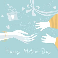 Happy Mother's Day with mother and child hands