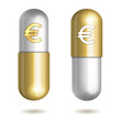Capsule Pills with Euro Signs