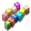 take action words made of colorful toy blocks