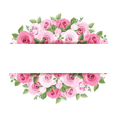 Background with pink roses. Vector eps-10.