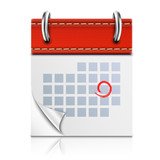 Realistic Isolated Red Calendar Icon. - 61959548