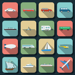 Transportation flat vector icons