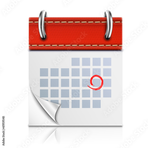 Realistic Isolated Red Calendar Icon.