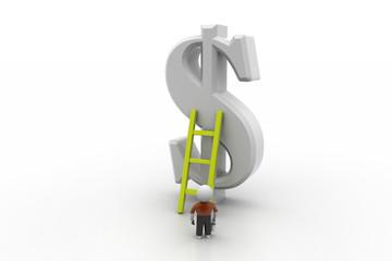 3d man climbing ladder toward financial symbol
