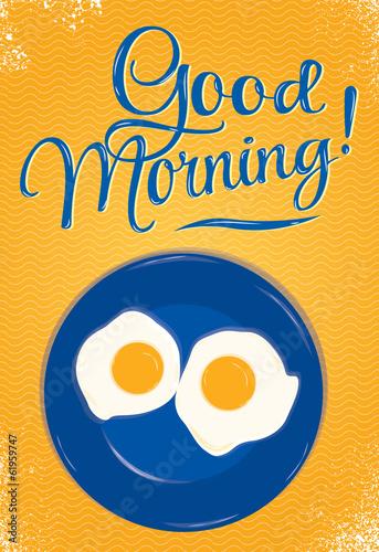 plakat-napis-dobry-poranek-pomaranczowy