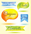 Set watercolor speech bubbles ribbons flags Vector illustration